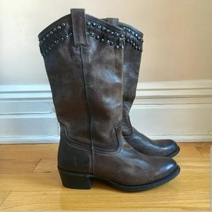 Brown Leather Studded Frye Boots size 6